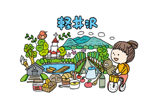 軽井沢観光をする女性1人のイラスト素材 [FYI01745061]