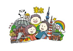 東京観光をする3人家族のイラスト素材 [FYI01745063]