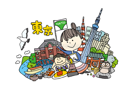 東京観光をする女性1人のイラスト素材 [FYI01745076]