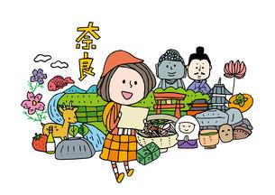 奈良観光をする女性1人のイラスト素材 [FYI01745096]