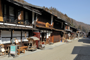 奈良井宿の町並みの写真素材 [FYI01745123]