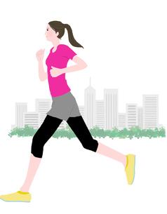 ジョギングをする女性のイラスト素材 [FYI01745360]