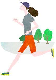 ジョギングをする女性のイラスト素材 [FYI01745371]