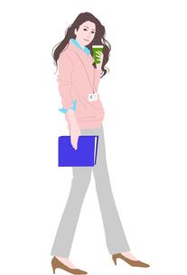 珈琲を持って微笑む女性のイラスト素材 [FYI01745407]