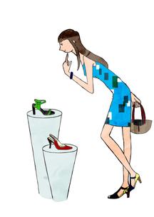 買い物をする女性のイラスト素材 [FYI01745444]
