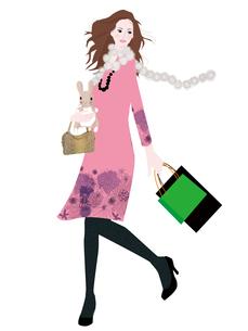 買い物をする女性のイラスト素材 [FYI01745510]