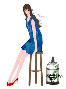 座る女性のイラスト素材 [FYI01745566]