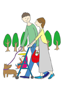 散歩をする家族のイラスト素材 [FYI01745663]