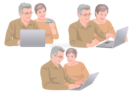 ネットで買い物をするシニアの夫婦のイラスト素材 [FYI01746329]