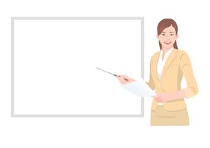 ホワイトボードの前でプレゼンテーションをする女性のイラスト素材 [FYI01746348]