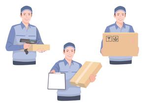 段ボールと伝票を持って配送作業をする男性のイラスト素材 [FYI01746398]