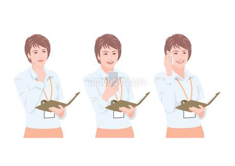手帳を持ちながら携帯電話で会話をする女性のイラスト素材 [FYI01746400]