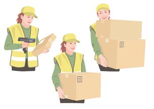 ダンボールを持って配送作業をする女性のイラスト素材 [FYI01746403]