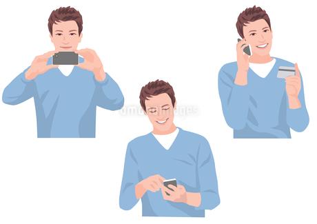 スマートフォンで写真を撮る、メールを送る、カードで買い物をする男性のイラスト素材 [FYI01746434]