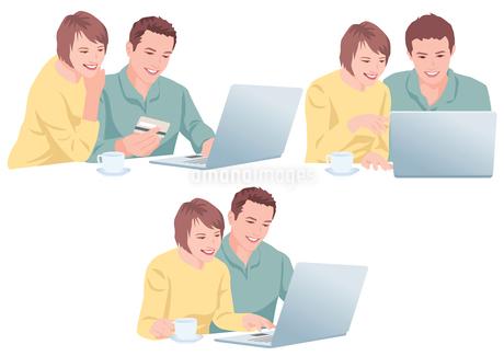 ネットで買い物をする夫婦のイラスト素材 [FYI01746435]