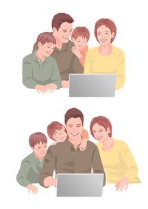 コンピューターで買い物を楽しんでいる両親と子供達のイラスト素材 [FYI01746437]