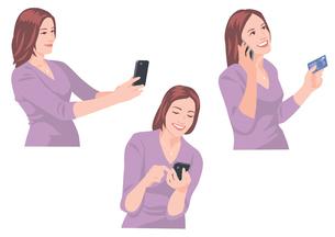 スマートフォンで写真を撮る、メールを送る、カードで買い物をする女性のイラスト素材 [FYI01746474]
