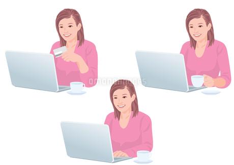 自宅でコーヒーを飲みながらネットで買い物をする女性のイラスト素材 [FYI01746488]