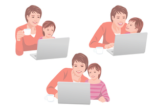 コンピューターで買い物をする母親と子供のイラスト素材 [FYI01746527]