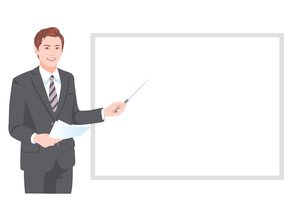 ホワイトボードの前でプレゼンテーションをする男性のイラスト素材 [FYI01746591]