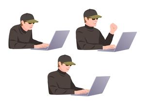 コンピューターに不正侵入しようとしている男性ハッカーのイラスト素材 [FYI01746634]