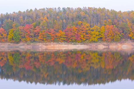 秋の恩原高原と恩原湖の写真素材 [FYI01747940]