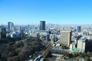 後楽園から眺める新宿と富士山の写真素材 [FYI01749984]