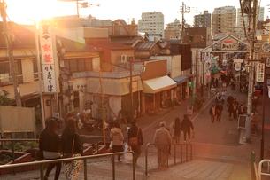 谷中銀座商店街と夕やけだんだんの写真素材 [FYI01751339]
