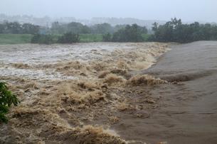 台風で増水した河川の写真素材 [FYI01751428]