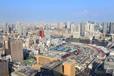 東京 築地市場と都市風景の写真素材 [FYI01751501]