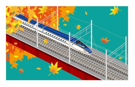 E7系北陸新幹線 秋 鉄橋の風景のイラスト素材 [FYI01753064]