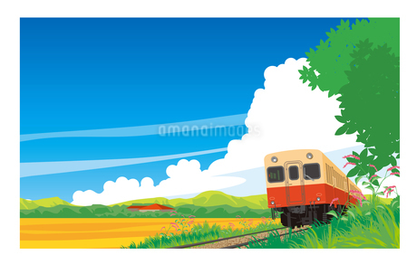 キハ200小湊鉄道 晩夏の風景のイラスト素材 [FYI01753065]