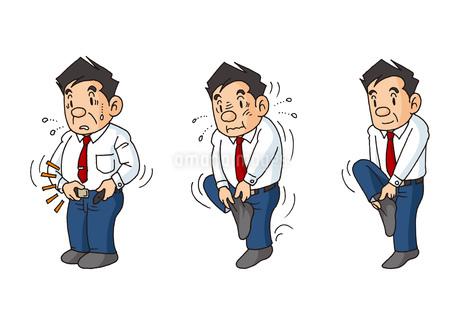 中年男性の生活、健康な体型と不健康な体型のイラスト素材 [FYI01753069]