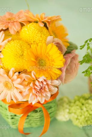 黄色のガーベラとオレンジのダリアのアレンジメントの写真素材 [FYI01753392]