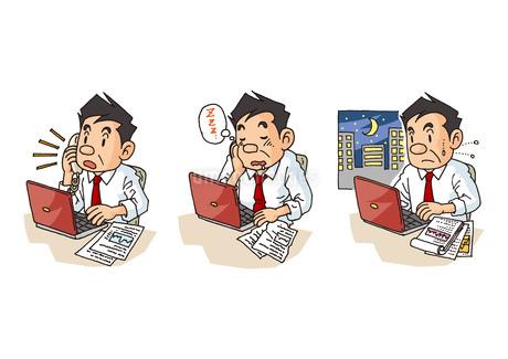 中年男性の生活、デスクワーク・居眠り・残業のイラスト素材 [FYI01753401]
