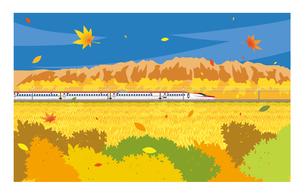 E6系新幹線こまち 秋の風景のイラスト素材 [FYI01753416]