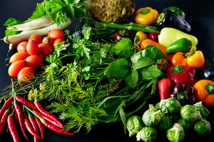 芽キャベツ,ミニパプリカ、フルーツパプリカ,白ナス,ハーブなど野菜の集合の写真素材 [FYI01755230]