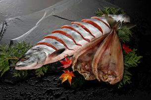 紅鮭とホッケの写真素材 [FYI01756146]
