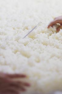 日本酒作りの麹を混ぜる工程写真の写真素材 [FYI01756683]