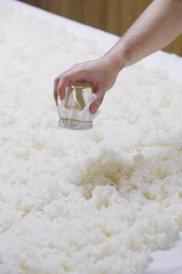 日本酒作りの麹を混ぜる工程写真の写真素材 [FYI01757495]