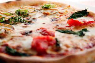 3種チーズとポテトとトマトのハーフ&ハーフの写真素材 [FYI01757713]