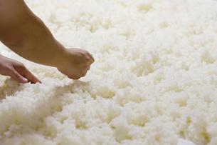 日本酒作りの麹を混ぜる工程写真の写真素材 [FYI01757789]