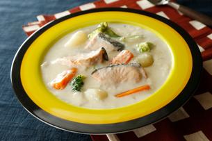 鮭のクリームシチューの写真素材 [FYI01759025]