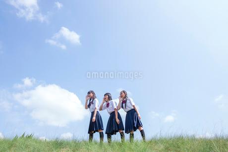 土手に立つ中学生の写真素材 [FYI01759380]
