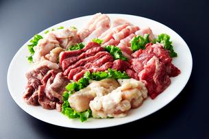 鶏、豚、牛、ホルモンその他焼肉セットの写真素材 [FYI01759459]