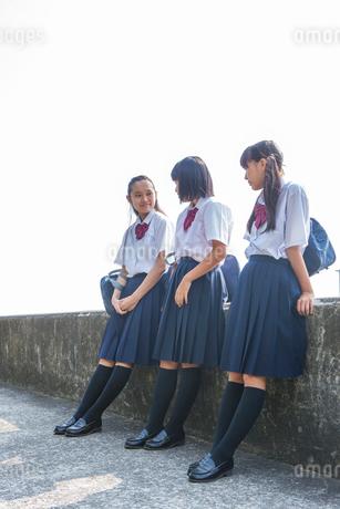 堤防で話す中学生の写真素材 [FYI01759552]
