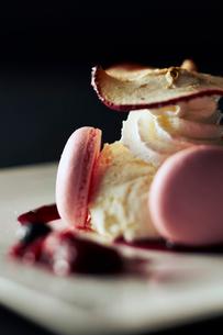 マカロンとアイスの焼きりんご添えの写真素材 [FYI01759893]