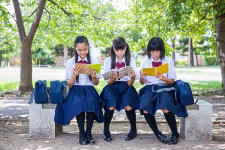 ベンチで勉強する中学生の写真素材 [FYI01760936]