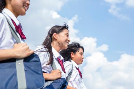 並んで走る中学生の写真素材 [FYI01760981]