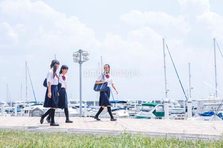並んで歩く中学生の写真素材 [FYI01761107]